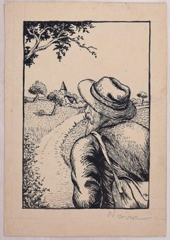 Man in the Field  - Original Woodcut by Lucie Navier - 1934