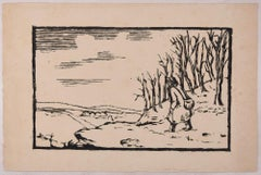 Solitary Traveller  - Original Woodcut by Lucie Navier - 1930s
