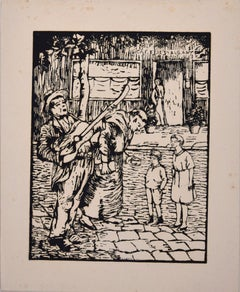 The Begging  - Original Woodcut by Lucie Navier - 1930s
