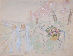 Angels in the Garden - Original Mixed Media on Paper by Lucie Navier - 1930s
