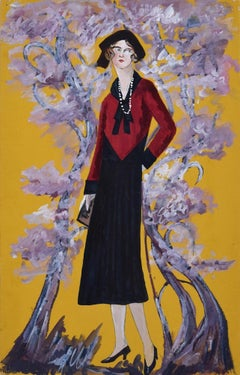 Madame in the Blossom Garden  - Original Tempera on Paper by Lucie Navier - 1931