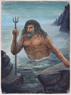 Poseidon  - Original Ink and Tempera on Paper by Lucie Navier - 1933