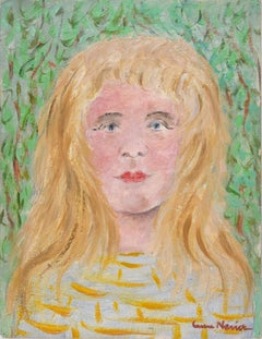 Young Blonde Girl  - Original Oil on Cardboard by Lucie Navier - 1930s