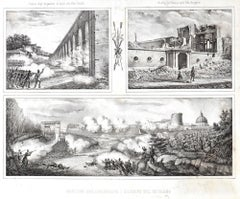 Ruins Of The Siege - Original Lithograph y Anonymous 19th Century Italian Artist