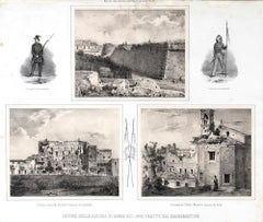 Ruins of Rome - Original Lithograph y Anonymous 19th Century Italian Artist