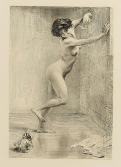 Das geneckte Hündchen (The Puppy Dog) - Original Etching by K. Koepping - 1904/5