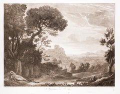 Marciso and Echo - Original B/W Etching after Claude Lorrain - 1815