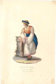 Costume di Carafa - Original Watercolor by M. De Vito - 1820 ca.