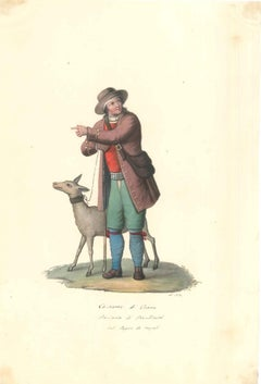 Costume di Craco - Original Watercolor by M. De Vito - 1820 ca.
