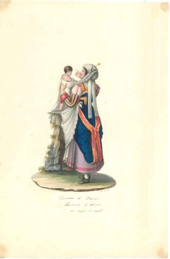 Costume di Fraine - Original Watercolor by M. De Vito - 1820 ca.