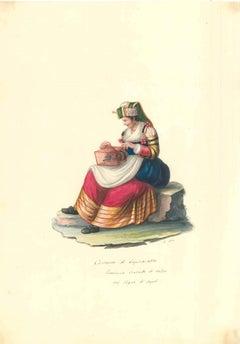 Costume di Capracolla - Original Watercolor by M. De Vito - 1820 ca.