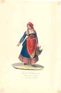 Costume di Villa Pianezza - Original Watercolor by M. De Vito - 1820 ca.