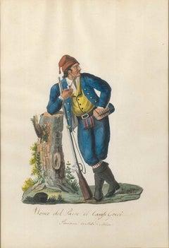 Uomo del Paese di Carafa Greci - Original Watercolor by M. De Vito - 1820 ca.