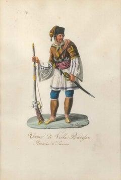 Man from Villa Badessa- Original Watercolor by M. De Vito - 1820 ca.