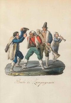Ballo de' Zampognari - Original Watercolor by M. De Vito - 1820 ca.