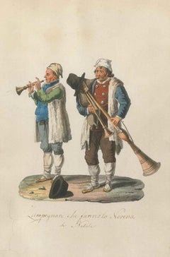Zampognari che fanno la Novena di Natale - Watercolor by M. De Vito - 1820 ca.