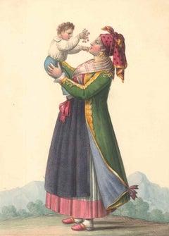 Costume di Procida - Watercolor by M. De Vito - 1820 ca.