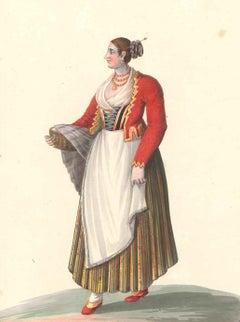Costume di Sorrento - Watercolor by M. De Vito - 1820 ca.