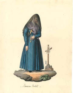 Manca Penitente - Watercolor by M. De Vito - 1820 ca.