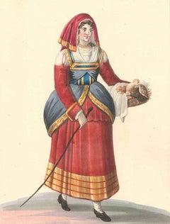 Italian Woman with Chickens - Watercolor by M. De Vito - 1820 ca.