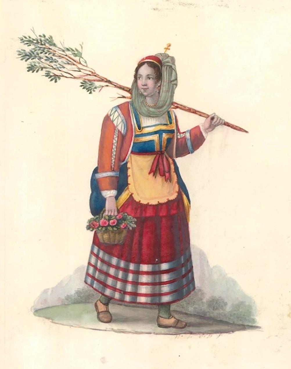 Woman with Flowers - Watercolor by M. De Vito - 1820 ca.