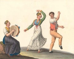 La Tarantella - Watercolor by M. De Vito - 1820 ca.