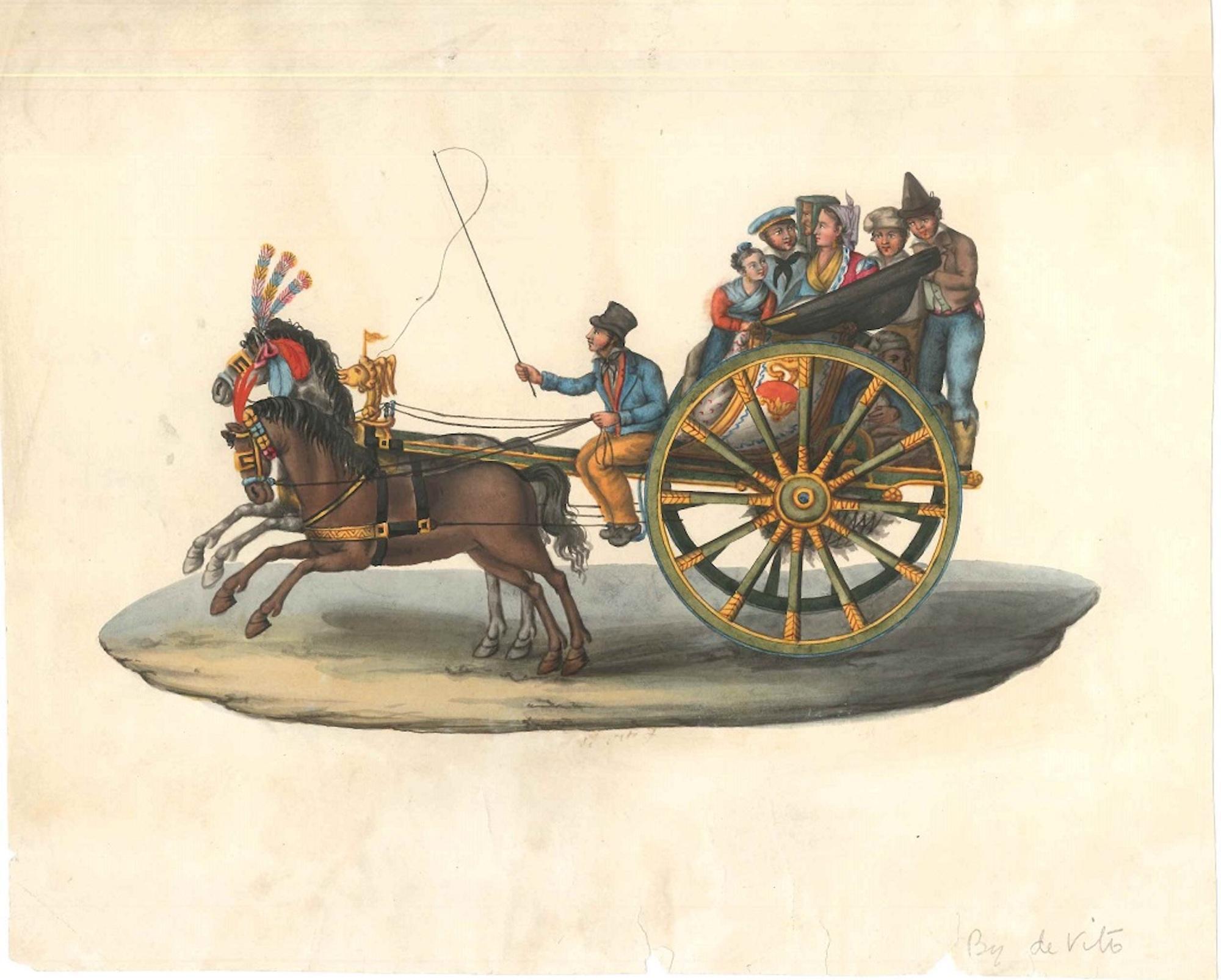 Carretto Siciliano (Sicilian Carriage) - Watercolor by M. De Vito - 1820 ca.