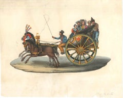 Carretto Siciliano (Sicilian Carriage) - Watercolor by M. De Vito - 1820 ca.