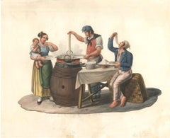 Mangiatori di Spaghetti - Watercolor by M. De Vito - 1820 ca.