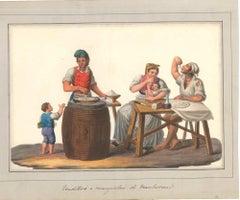 Venditori e Mangiatori di Maccheroni - Watercolor by M. De Vito - 1820 ca.
