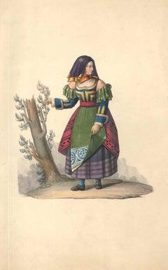 Female figure of XIX century - Watercolor by M. De Vito - 1820 ca.