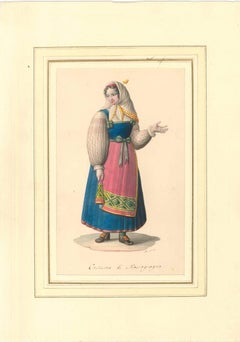 Costume di Massagrogna - Watercolor by M. De Vito - 1820 ca.