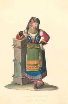 Costume di Tortorella - Watercolor by M. De Vito - 1820 ca.