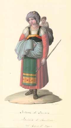 Costume di Ciociara - Watercolor by M. De Vito - 1820 ca.