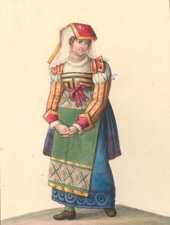 Costume di Costume di Gioja - Watercolor by M. De Vito - 1820 ca.