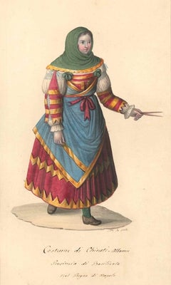 Costume di Chieuti Albanesi - Watercolor by M. De Vito - 1820 ca.