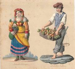 Tortorella d'Abruzzo e fruttaro napolitano - Watercolor by M. De Vito - 1820 ca.