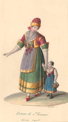 Costume di San Giovanni - Watercolor by M. De Vito - 1820 ca.