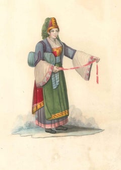 Costume di Parghelia di Calabria - Watercolor by M. De Vito - 1820 ca.