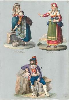 Three Popular Characters - Watercolor by M. De Vito - 1820 ca.