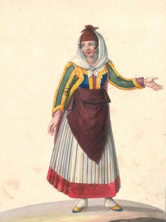 Costume di Procida - Watercolor by M. De Vito - 1820 ca.