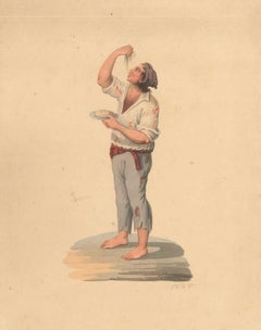 Man Eating Spaghetti - Watercolor by M. De Vito - 1820 ca.