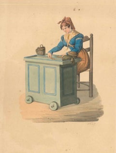 Neapolitan Woman at Work - Watercolor by M. De Vito - 1820 ca.