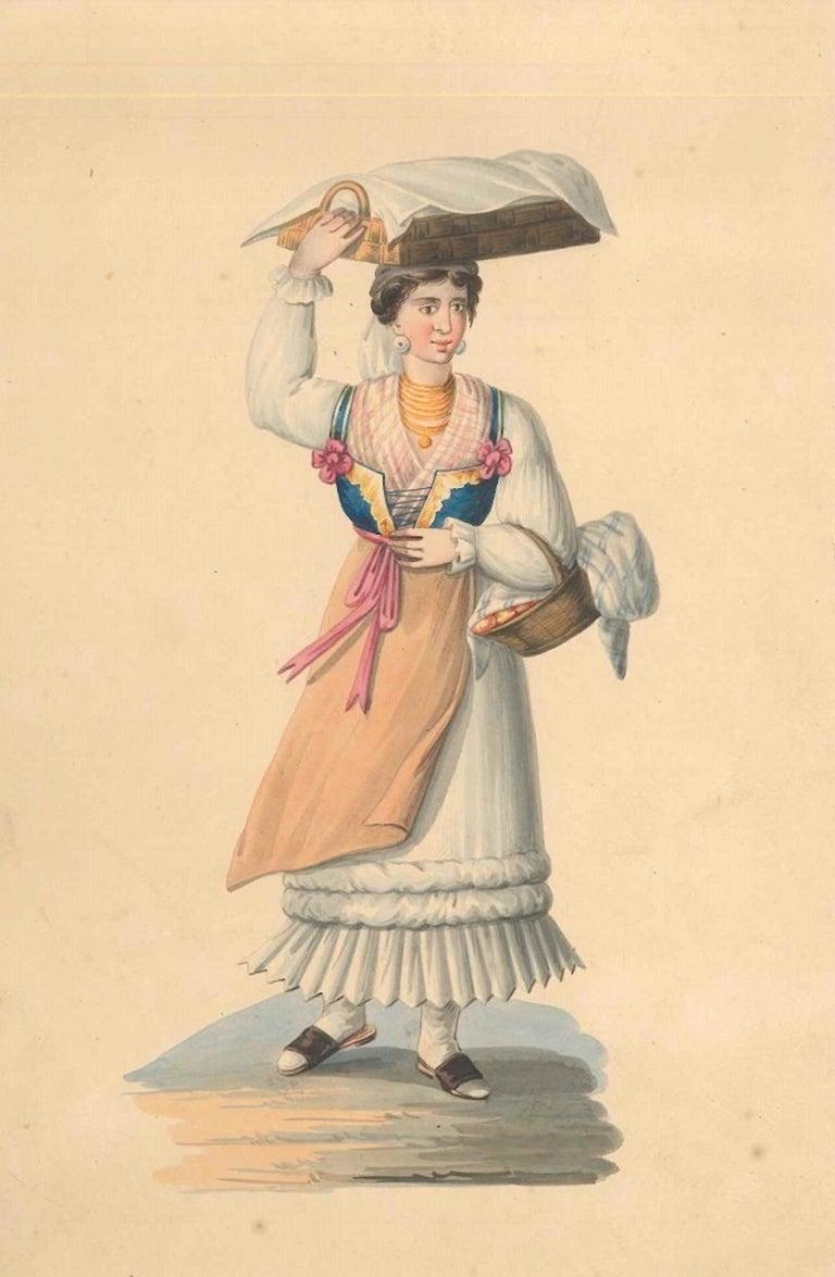 Michela De Vito Figurative Art - Woman with Baskets - Watercolor by M. De Vito - 1820 ca.