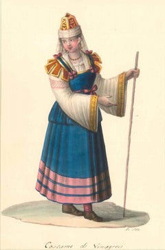 Costume di Sinagreci - Watercolor by M. De Vito - 1820 ca.