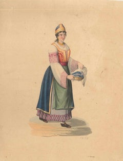 Woman in Typical Costumes  - Watercolor by M. De Vito - 1820 ca.