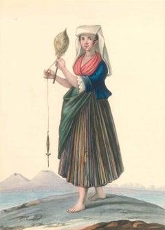 Costume napolitano del borgo di Chiaja  - Watercolor by M. De Vito - 1820 ca.