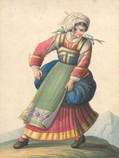 Woman in Typical Italian Costumes   - Watercolor by M. De Vito - 1820 ca.