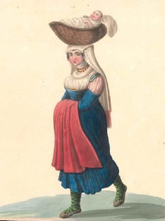 Costume di Cajazzo   - Watercolor by M. De Vito - 1820 ca.