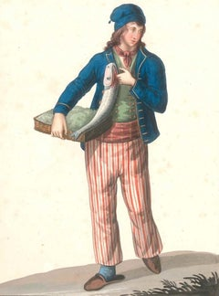 Costume di Castellone   - Watercolor by M. De Vito - 1820 ca.